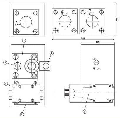 Commande hydraulique manifold Dimensions