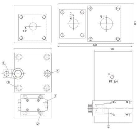 Hidráulicos de controle válvula do colector Dimensões