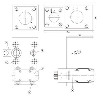 Hydraulische regelklep Manifold Dimensions
