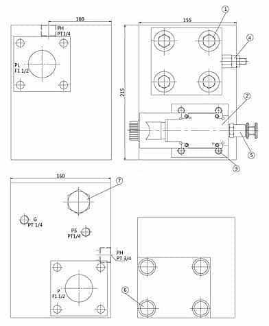 Distribuidor de válvulas hidráulicas Bloque Dimensiones