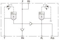 Hydraulikventil Verteilerblock Funktion Symbol