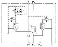 Hidráulica, válvula y colector-Block-símbolo