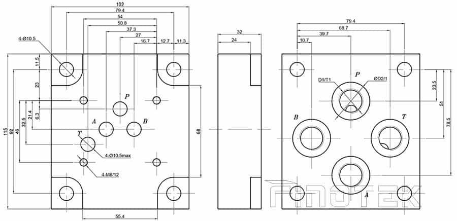 hydrauilc-direzionale-Control-valvola-a piastra-dimensioni-g66
