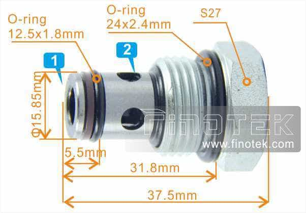 CV10-21 Check Cartridge Valve Profile Details