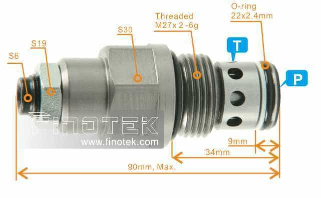 Cartridge-Pressure-Relief-Valve-Dimensi
