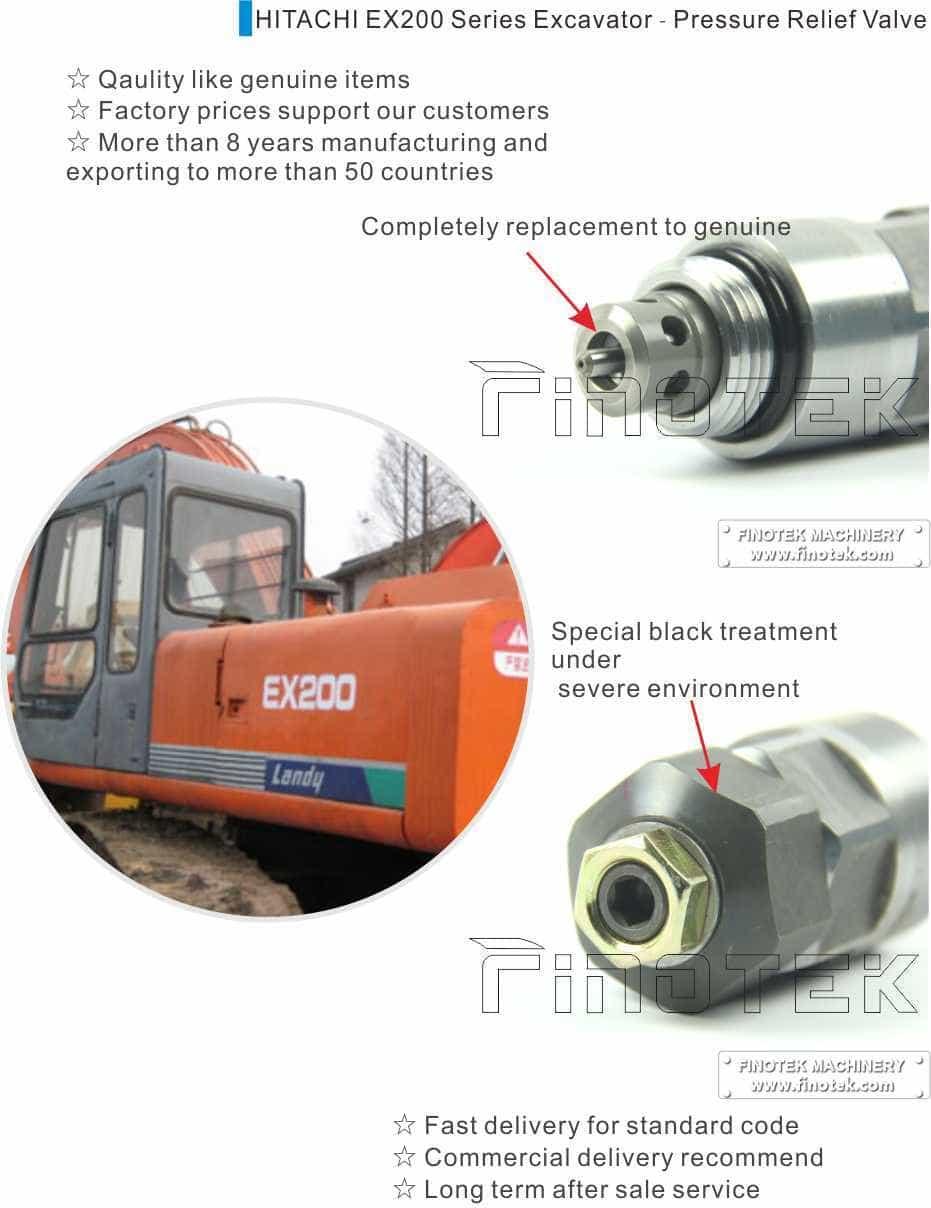Válvula de alivio del servicio de Hitachi Excavadora EX200