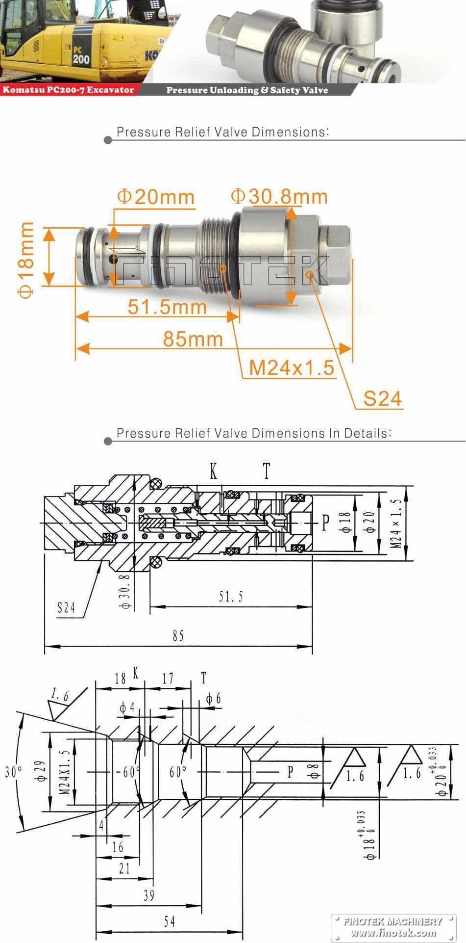 Komatsu PC200-7 / 8 экскаватора предохранительный клапан, предохранительный клапан давления