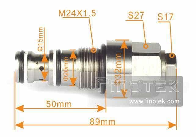 Medidas para la instalación de Komatsu de descarga, válvula de descarga de presión Komatsu Excavadora PC120-6