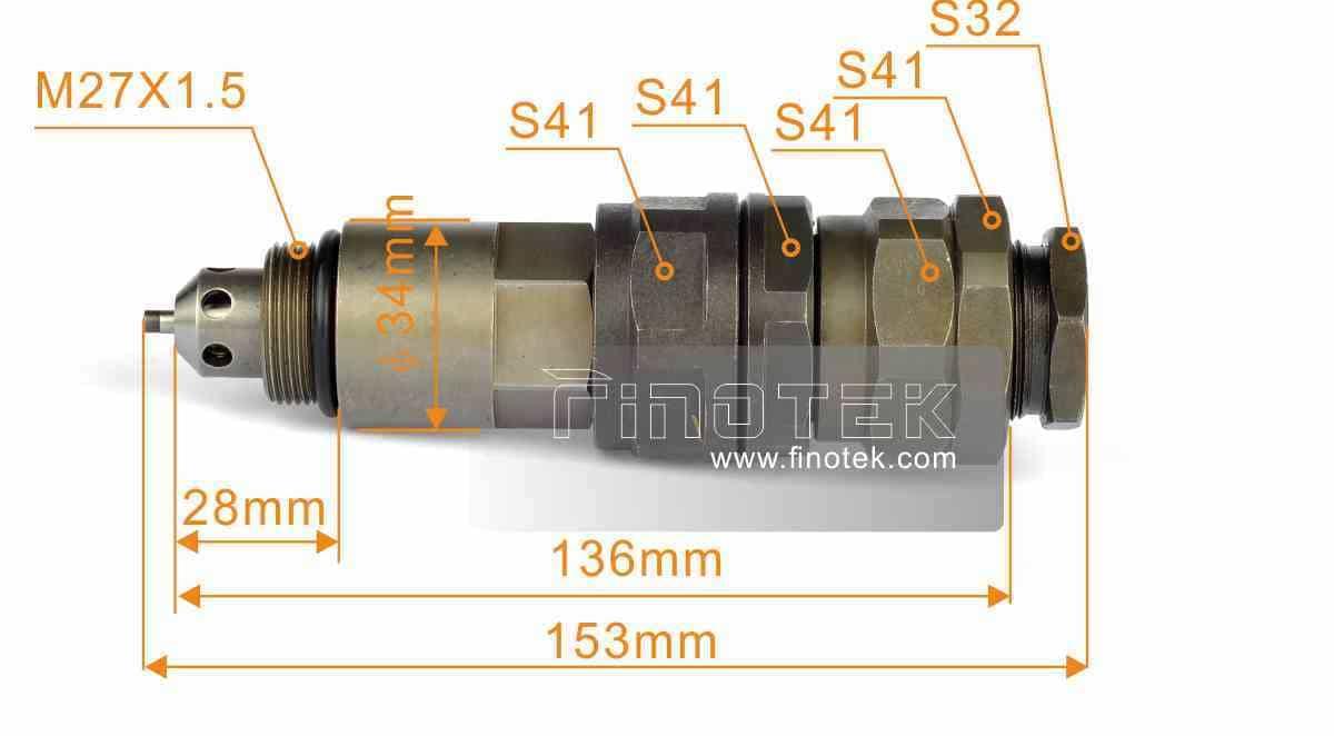 Dimensiones de instalación de la válvula de control Komatsu Komatsu - PC200-7 excavadoras, control de presión, la segunda válvula de alivio