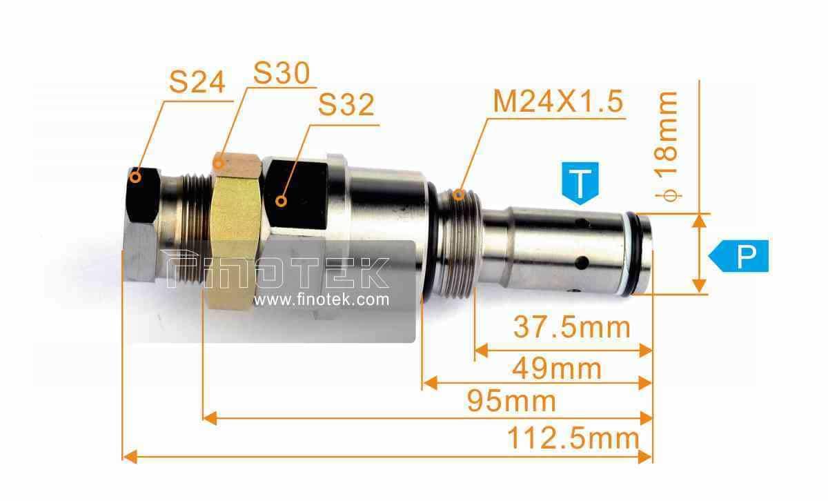 小松圧力弁の設置寸法 - 小松PC200-8ショベル、圧力制御、メインリリーフバルブ