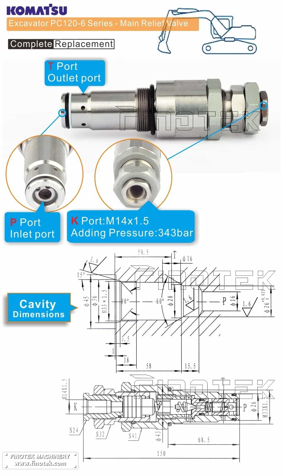 Komatsu PC120-6 Escavadeira principal válvula de alívio Dimensões