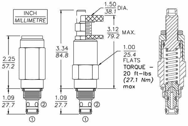 RV08-22 Pressure Control Relief Cartridge valve Inner structure Dimensions
