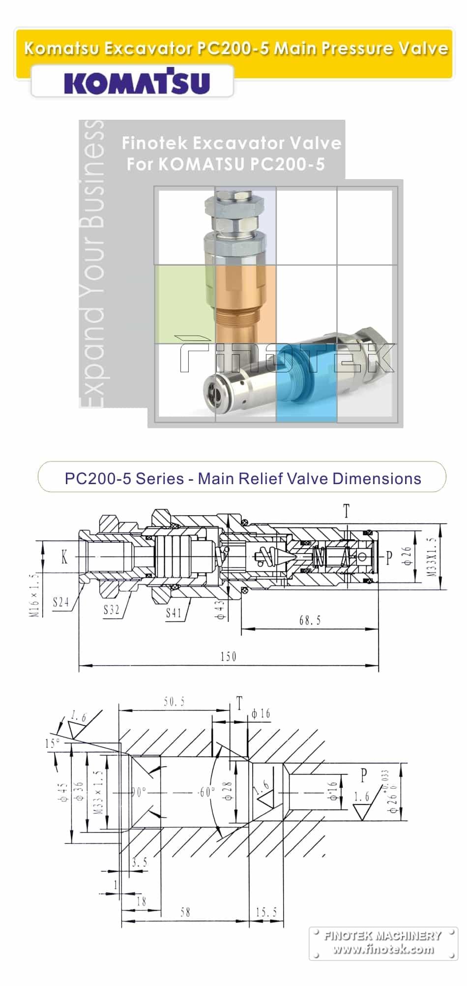 Komatsu PC200-5 Excavator tekanan kelegaan injap kawalan Ukuran